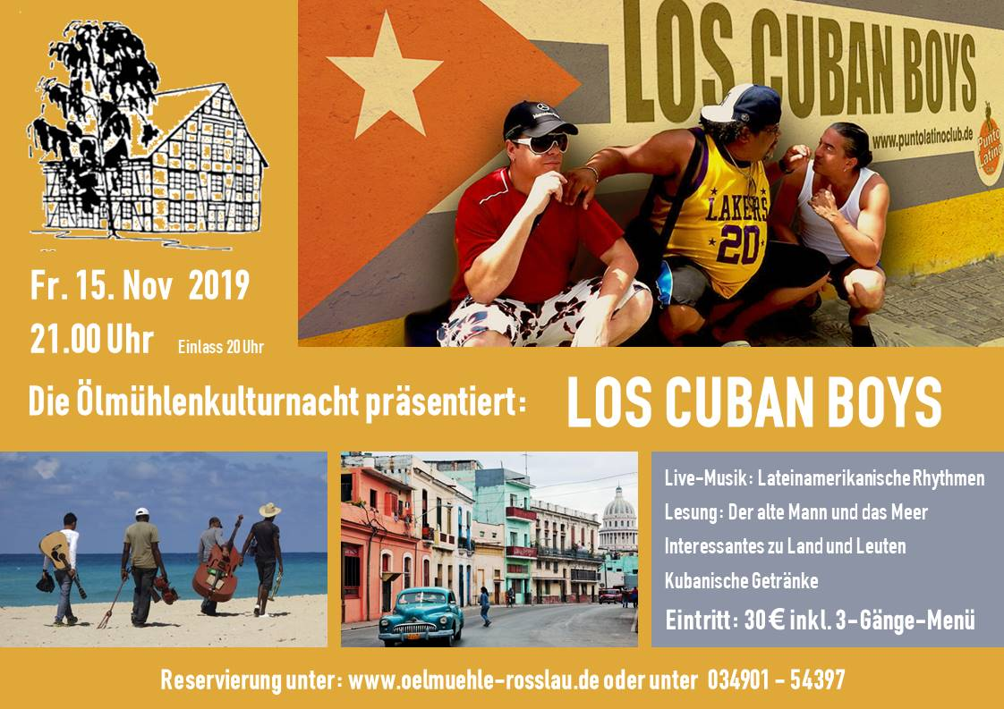 Ausverkauft !!! Ölmühlenkulturnacht: Los Cubanos Boys