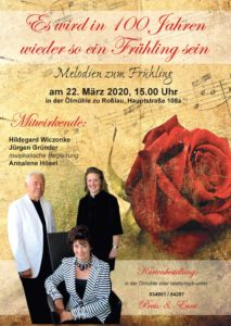 Abgesagt !!!Melodien zum Frühling an der Ölmühle mit Hildegard Wiczonke